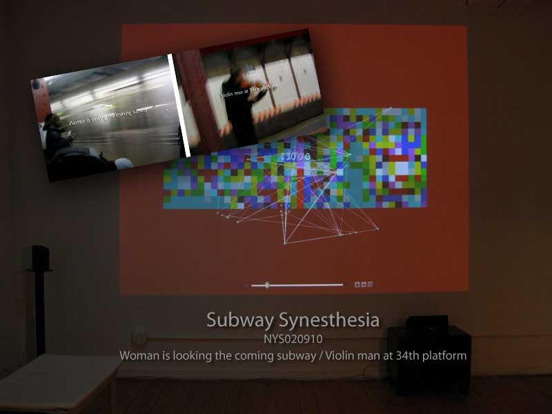 Subway Synesthesia / NYS020910, Woman is looking the coming subway / Violin man at 34th platform